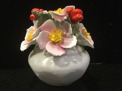 Aynsley England bone china Pot of flowers hand modelled and hand painted