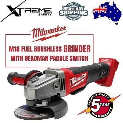 "MILWAUKEE M18 Fuel Brushless 125mm 5"" Grinder w/ Deadman Paddle Switch SKIN"