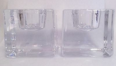 Vintage Orrefors Pair Clear Glass Modernist Square Cube Candle Stick Holders