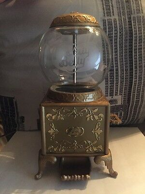 2007 Jelly Belly Gold Metal Gumball Machine Retro Dispenser Candy Glass Globe