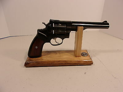 Light Stained Handmade Wood Pistol  Display Stand Fits MOST Full Size Revolvers