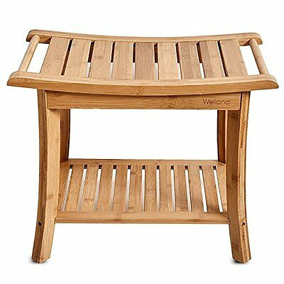 WELLAND Bamboo Shower Bench with Storage Shelf, Large Size 23.5-Inch x 13-Inch x