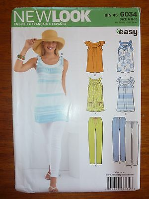 New Look Womens Top And Pants/trouser Pattern 6034 Size 8-10-12-14-16-18 - Uncut