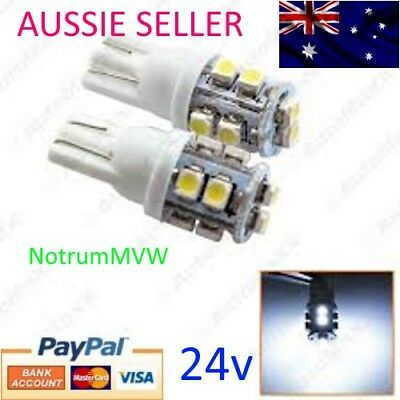 10pcs 24V LED 10SMD BRIGHT WHITE Light 4wd Caravan Bus Truck 1210 3528 W5W 194