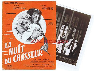 LA NUIT DU CHASSEUR DP + PHOTO Robert MITCHUM Film Noir LAUGHTON Prison 1955
