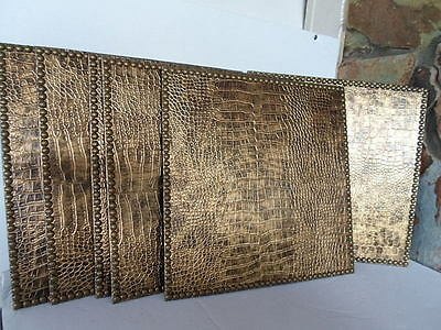 "DRANSFIELD and ROSS NY REPTILE PATTERN PLACEMATS 8 VINTAGE 15"" GOLD  item #4120"
