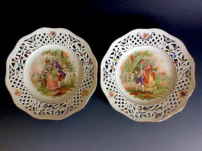 Set Of 2 Vintage Bavaria Schumann Germany US Zone Reticulated Plates Paul's Gift