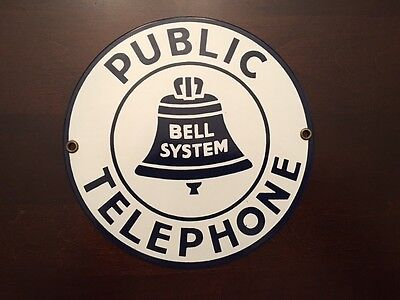 Vintage BELL SYSTEM Public Telephone Metal Enamel Round Sign