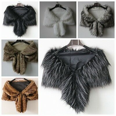 NEW Faux Fox Fur Shawl Winter Scarf Shawl collar Women's Wrap Stole Scarves
