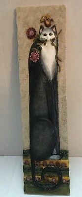 "Cat Tails ROSEBUD Resin 3D Wall Plaque Decor Signed By Eileen Smithson 11"" x 3"""