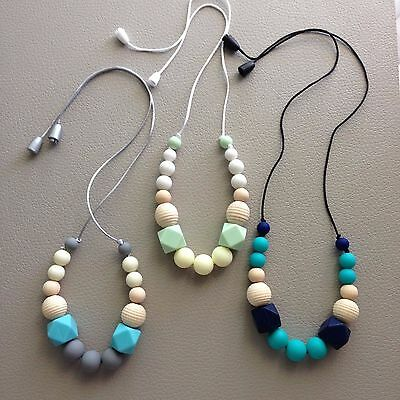 Silicone Nursing Teething Necklace,Sling,Carrier Babywearing Chewable wood beads