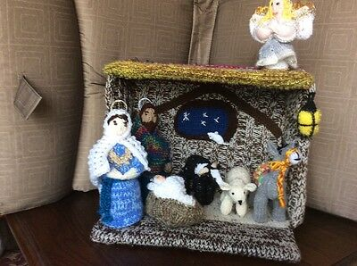 Hand Knit Nativity Scene Stable & 15 Figures - All Unique