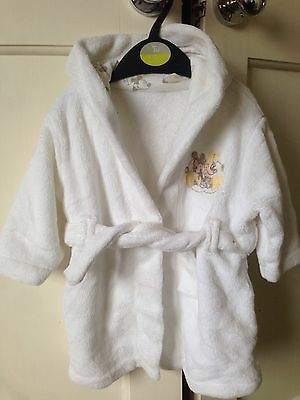 Brand New Disney-Micky/ Minnie Mouse White Dressing Gown. Unisex. Age 3-6 Months