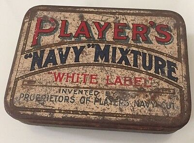Player's Navy Mixture White Label Tobacco Cigarette Tin Vintage Advertising