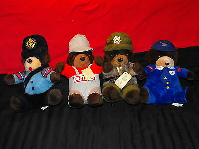 """Lot of 4 Vintage 15"""" Canadian Government Bears Canada Post, CN Rail, Corrections"""