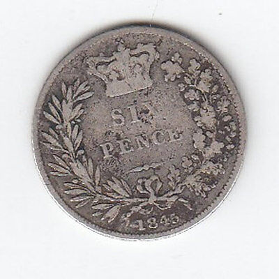1845 Queen Victoria Silver Sixpence - Nice Condition! (J)