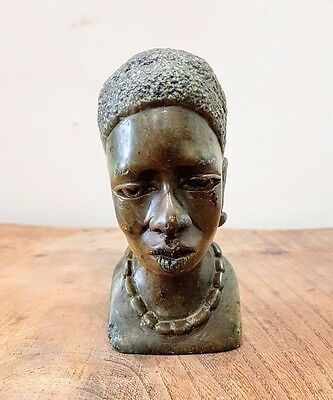 Old Vintage Antique African Carved Stone Mramor Head Bust Signet