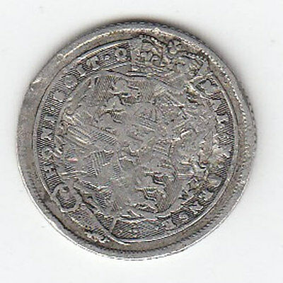 1819 King George Silver Sixpence - Nice Condition! (J)