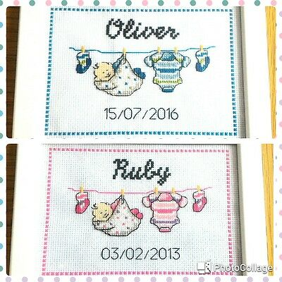 COMPLETED Personalised Cross Stitch BABY BIRTH SAMPLER/ Christening/ Baby Shower