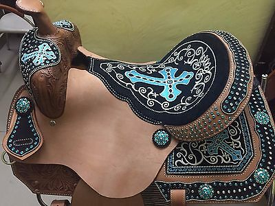 Western Natural Leather Cross Embroidered Barrel Racer Saddle With Tack Set