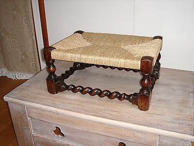 Victorian Gothic Oak Footstool Seagrass Seat w/ Barley Twist Legs[not/rush/cane]
