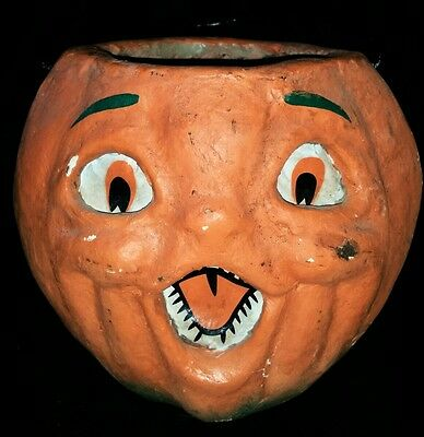 Antique Early Old Halloween Paper Mache Jack-o-lantern Orange and Green