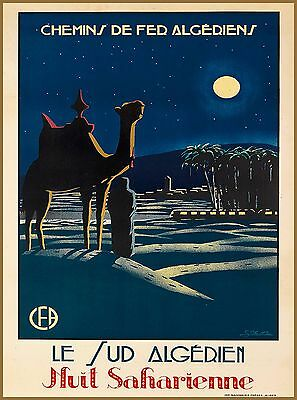 Southern Algeria Saharan Night North Africa Vintage Travel Advertisement Poster