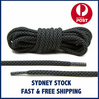 Black 3M Reflective Rope Laces Runner Shoelaces