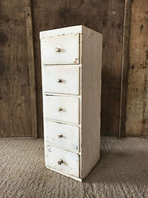 Vintage Old Antique French Chest Drawers Painted White Cabinet Cupboard Tallboy