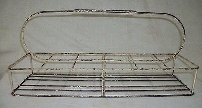 Antique Metal Wire Dairy Cream Milk Bottle Delivery Carrier Holder Tote