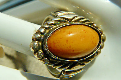 Amazing Vintage Ring NATURAL BALTIC AMBER  Gold plated Silver 875 Soviet Star琥珀