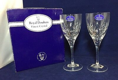 Unused Boxed Pair of Royal Doulton Finest Crystal Small Wine Glasses Cheare