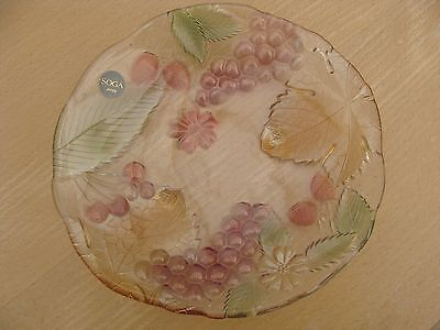 SOGA Japan Glass Bowl with Floral Design Vintage