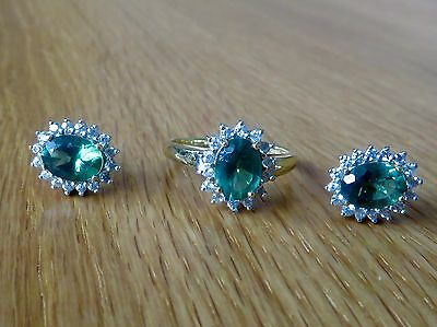 Russian Apatite & Zircon Ring & Earrings In Gold