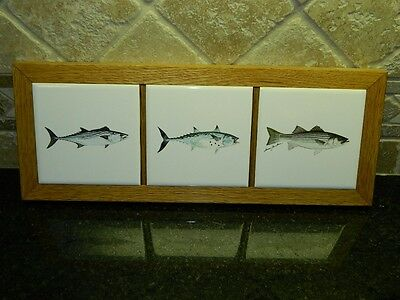 Anglers Expressions 3 Tile Framed Fish Trivet by Artist Dann Jacobus