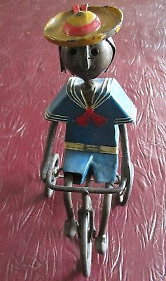 Manuel Felguerez Metal Mexican Folk Sculpture Boy Riding Tricycle Signed 10""