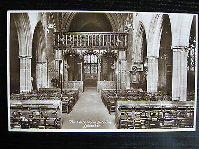 The Cathedral Interior, Leicester, Leicestershire - RP - posted 1928