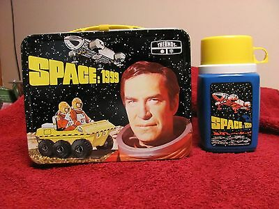 Nice Vintage 1975 SPACE 1999 TV Show Metal Lunchbox & Thermos Set C=9