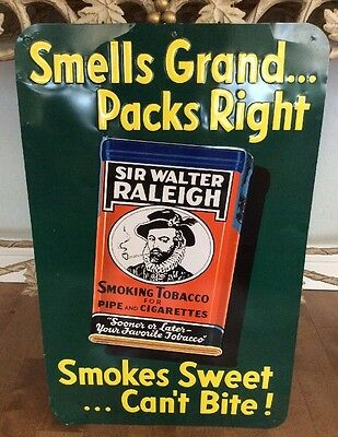 Rare Sir Walter Raleigh Tobacco Metal Sign Smells Grand Smokes Sweet 26x16.5""