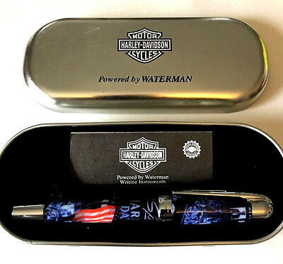 Fountain Pen Waterman Harley Davidson Med. Point Papers Metal Case Usa Flag Nos