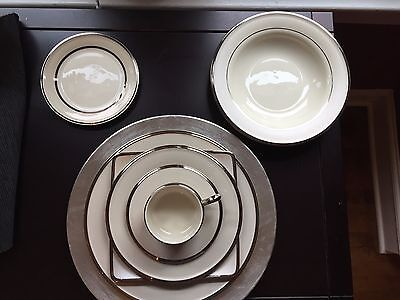 Lenox China Dimension Collection Ivory Frost-Service for 12! Serving Pieces too!
