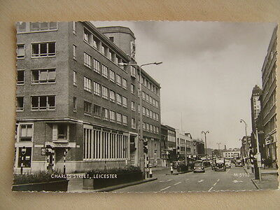 Real photo Postcard - CHARLES STREET, LEICESTER. Used. Standard size.