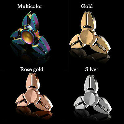 Colorful Tri-Spinner Fidget Metal Brass Hand Focus Spinner Anti-Stress Toys Gift