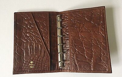 MULBERRY Agenda Diary Address Pocket Book Cover Brown Leather