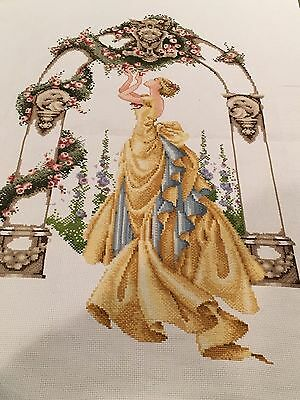 """Mirabilia Designs """"Rose of Sharon"""" COMPLETED UNFRAMED COUNTED CROSS STITCH"""