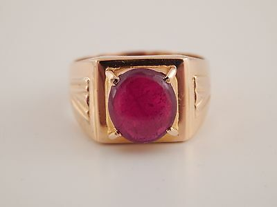 Men's 18k Solitaire 2.60 ct Blood Red Ruby Cabochon Cut Ring Handmade Vintage