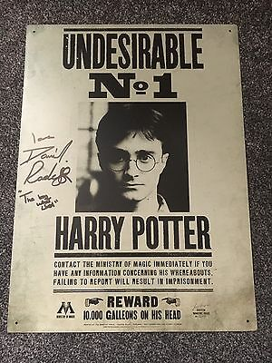 Signed Harry potter metal Wanted Sign *DanielRadcliffe*