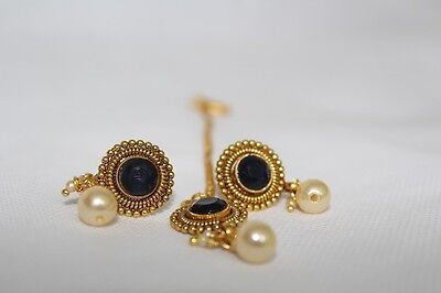 Indian Traditional Ethnic Bollywood Maang Tikka Bindi Stud Earring Set 3