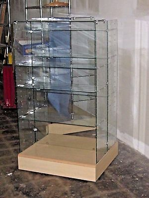 Hallmark Glass Fixtures - Gently Used - with Maple Finished Bases on Castors