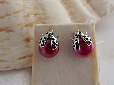Honora Cultured  RED coin PEARL ladybug earrings STERLING NEW  CHARMING
